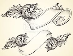Scroll Banner And Curled Scroll Banners Royalty Free Stock Vector Art Illustration Baroque Frame, Tattoo Painting, Molduras Vintage, Schrift Tattoos, Geniale Tattoos, Motif Floral, Free Vector Art, Tattoo Inspiration, Tribal Tattoos