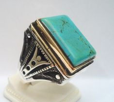 925 Sterling Silver Men's Ring with Turquoise by MASTERofSILVER, $57.00