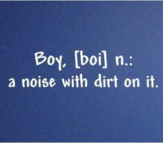 Boy a noise with dirt on it  Vinyl Lettering Wall Decal Sticker  2.5x34. $8.99, via Etsy.