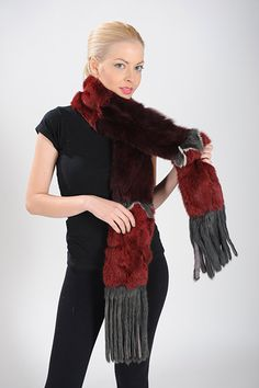 Burgundy, dark red and gray scarf of rabbit fur. Available for wholesale orders.