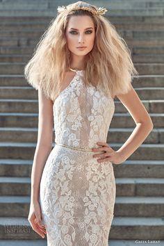 galia lahav fall 2016 bridal sleeveless halter neck sheath lace wedding dress (victoria) zv sexy glam open back