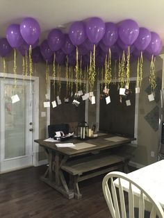 50 balloons with 25 pictures of from the tv show friends tied to them and 25 actually picture of the bride and her friends