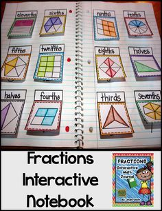 Fractions Second Grade Math Notebook This product is jam-packed with quality goodies that will provide you with great resources to use for your fraction unit! What's Included: *Explanation of Interactive Math Notebooks *Fraction Vocabulary Words * Teaching Fractions, Math Fractions, Teaching Math, Equivalent Fractions, Fourth Grade Math, Second Grade Math, Third Grade, Math Notebooks, Interactive Notebooks