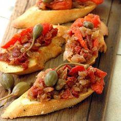 Red Pepper and Sundried Tomato Relish Tomato Relish, Sandwich Fillings, Roast Chicken, Red Peppers, Bruschetta, Allrecipes, Picnic, Sandwiches, Oven