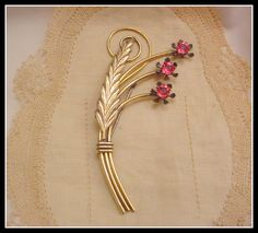 Vintage Gold Deco Floral Rhineston Flower Spray Brooch by Zeppola, $25.00