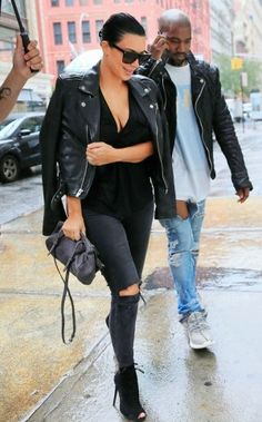 Kim Kardashian wearing Tom Ford Fall 2011 Ankle Boots, Blk Dnm Leather Jacket 1, J Brand Photo Ready Cropped Mid Rise in Mercy, Yves Saint Laurent Sl 1/S 59/13/140 Sunglasses and Givenchy Croc-Embossed Mini Pandora Messenger