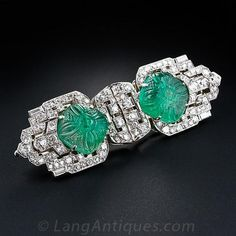 Diamond, Emerald Double-clip/brooch