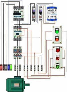 contactor wiring guide for 3 phase motor with circuit breaker wiring a receptacle diagram motor trifásico con contactor y botonera pare arranque electrical engineering, electrical wiring,