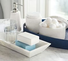 Marble Bath Accessories #potterybarn - soap pump - tray - canister