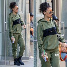Rihanna in Trapstar Olive Sweatsuit