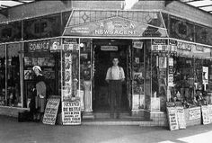 Homebush Newagents in 1936. Brawls at Auburn Station shared the headlines with news of the Spanish Civil War at Perry's Newsagency, Homebush, 1936. Strathfield History Images