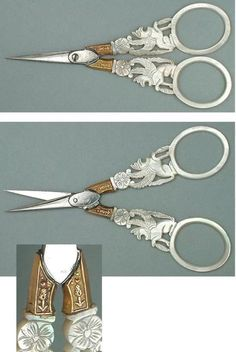 Antique Palais Royal Mother of Pearl Scissors French, circa 1810-20
