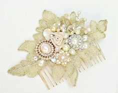 Gold Lace Hair Comb-Gold Bridal Hair piece-Gold Lace Bridal Comb-Pearl Bridal Comb-GGold Hair accessories-Vintage Inspired Bridal Hair Comb- on Etsy, £42.19