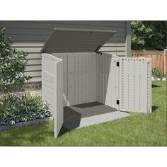 Shop Resin Outdoor Storage Shed at Lowe's Canada online store. Find Small Outdoor Storage at lowest price guarantee. Garbage Can Storage, Garbage Shed, Trash Can Storage Outdoor, Backyard Storage Sheds, Shed Storage, Patio Storage, Backyard Sheds, Suncast Storage Shed, Storage Ideas