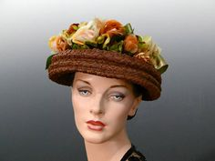 9ed0e57e Women's Vintage Straw Hat Open Crown with Gorgeous Silk Ombre Ribbon Trim  and Millinery Roses Green