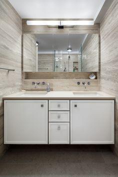 recessed medicine cabinet with niche below Modern Baths, Modern Bathroom, Recessed Medicine Cabinet, Waterworks, Bath Light, Condominium, Double Vanity, Master Bath, Modern Contemporary