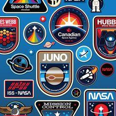 by signalnoise Space Illustration, Graphic Design Illustration, Nasa Patch, Rocket Design, James White, Badge Logo, Patch Design, Badge Design, Vintage Logo Design