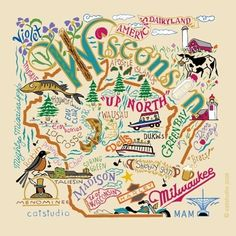 Great doodle featuring some of the prominent features about our state.our son, Matt, served 2 years in the Wisconsin Milwaukee Mission. Great Doodle, Milwaukee Wisconsin, Milwaukee Map, Wisconsin Badgers, Green Bay, Travel Posters, Illinois, Minnesota, Doodles