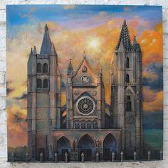 Acrílico sobre metal con detalle de la fachada de la Catedral de León en relieve creando, por ello, un efecto 3D. Medidas: 80 x 7,5 x 80 cm. Peso: 7,5 kgs. Cuadros Pop Art, Notre Dame, Building, Painting, Travel, 3d, Pintura, Viajes, Buildings