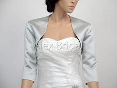 Silver 3/4 sleeve satin wedding jacket shrug by alexbridal on Etsy, $44.99