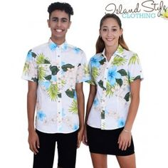 White Hawaiian Shirts Couple Set Mens and Ladies Tropical Uniforms