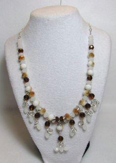 Caramel Delight - Jewelry creation by Linda Foust Caramel Delights, Crystal Design, White Opal, Topaz, Swarovski Crystals, Beaded Necklace, Jewelry Making, Jewels, Bracelets