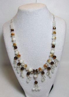 """Item 1363 - """"Swarovski Caramel Delight"""" - 8mm Swarovski Topaz and White Opal Crystals, White Opal Tear Drop Crystals, Glass Caramel Glass & ChainMail Tier Necklace $54 + $5 S&H. (SEE MATCHING BRACELET) Visit all my BEAUTIFUL jewelry pages, just follow the link: https://www.facebook.com/linda.foust.9?sk=photos..."""