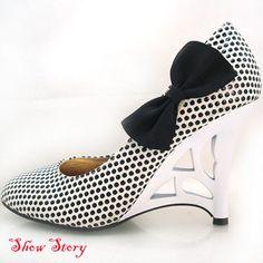 090893655965 White Black Polka Dots Sculptural Heels Shoes UK Size 7