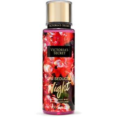 Victoria's Secret Pure Seduction Night Fragrance Mist ($18) ❤ liked on Polyvore featuring beauty products, fragrance, red, fruity perfume and spray perfume