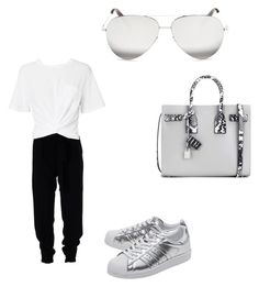 """""""Untitled #1116"""" by tal-haliva on Polyvore featuring MSGM, T By Alexander Wang, adidas Originals, Yves Saint Laurent and Victoria Beckham"""