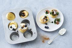 These mini pancakes are perfect if you can't be bothered to sit there flippin' over a skillet pan. Simply pop in the oven and serve with your fave toppings!