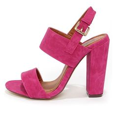 Fay 1 Fuchsia High Heel Sandals ($32) ❤ liked on Polyvore featuring shoes, sandals, pink, strap sandals, pink sandals, pink strappy sandals, strappy sandals and wide sandals