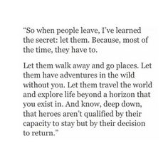 what I've learned about people leaving