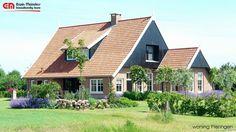 Landelijke woning in saksische stijl, met donkere eiken gevels en lichte genuanceerde steen