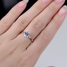 正品 s925纯银1克拉六爪钻戒钻石戒指女 情侣开口活口求婚戒