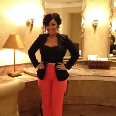 Gospel recording artist Erica Campbell from Mary Mary. Loving this outfit.