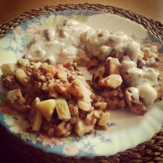 Soy in mushroom sauce and lentils with vegetables.