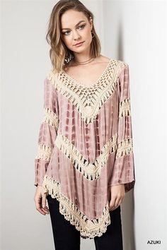 Eliza Bella Azuki Rose Boho Colorblock Knit Tunic Top Plus Size XL, 1X, 2X