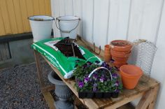 Planting table. Planting, Gardening, Watering Can, Table, Plants, Garten, Mesas, Lawn And Garden, Desk