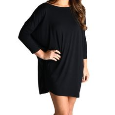 Black Piko Tunic 3/4 Sleeve Dress