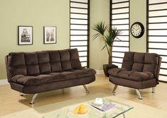 A.M.B. Furniture & Design :: Bedroom furniture :: Futon beds :: Cocoa Beach Contemporary Style Design Chocolate Brown Finish Plush Microfiber Cushions Futon Sofa with Chrome Finish Legs