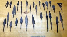 Arrowheads dating from the 10th to the 15th centuries in the Novgorod Archaeological Museum, Russia.