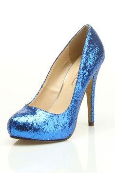 Blue Glitter Pumps $30