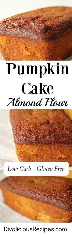This pumpkin cake baked with almond flour yields a very moist cake. This pumpkin cake baked with almond flour yields a very moist cake. Desserts Keto, Paleo Dessert, Gluten Free Desserts, Gluten Free Recipes, Low Carb Recipes, Dessert Recipes, Cooking Recipes, Breakfast Recipes, Flourless Desserts