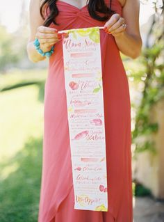 This is a menu, but cool idea for a program. Roll up and tie with blue ribbon.