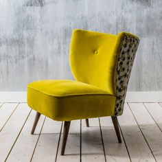 Our Alpana Print Yellow Velvet Cocktail Chair is a modern take on a classic piece. Luxuriously upholstered in rich yellow velvet, from the front this chair is simply traditional, but turn it around and discover a vivid molecule design. African inspired, t Furniture Upholstery, Upholstered Chairs, Cool Furniture, Furniture Design, Chair Cushions, Velvet Furniture, Furniture Chairs, Paint Upholstery, Upholstery Repair