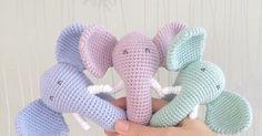 25 Ideas Crochet Baby Rattle Elephant For 2019 Crochet Baby Toys, Crochet Bebe, Crochet Animals, Crochet For Kids, Crochet Elephant Pattern, Crochet Patterns, Baby Elefant, Baby Presents, Granny Square Crochet Pattern