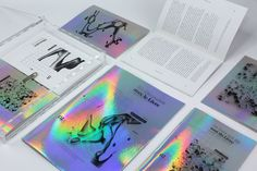 "via Muzli design inspiration. ""Weekly Inspiration for Designers is published by Muzli in Muzli - Design Inspiration. Holographic Background, Holographic Print, Holographic Foil, Adobe Indesign, Adobe Photoshop, Editorial Layout, Editorial Design, Adobe Illustrator, Rainbow Logo"