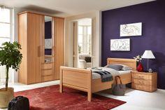 Schlafzimmer SAPHIR in Buche Nachbildung: Drehtürenschrank: 3-türig, ca. 150 x 222 x 62 cm, mit Spiegelfront und Schubkästen, Einzelbett: ca. 100 x 200 cm, Nachtschrank: ca. 58 x 50 x 39 cm, mit 3 Schubkästen