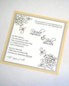 The Nicole Floral Wedding Invitation Set in Yellow, Grey and Silver - embellishedbytiffany.com